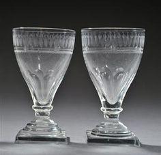 Lauritz.com - Glas - Tre svenske empireglas med firkantet fod, ca.1810. (3) - DK, Herlev, Dynamovej
