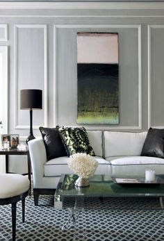 Living Room Interiors, Grey Wall With White Tailored Trim