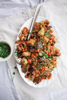 caponata panzanella » The First Mess // Plant-Based Recipes + Photography by Laura Wright