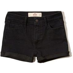 Hollister High Rise Denim Short-Shorts ($9.99) ❤ liked on Polyvore featuring shorts, hollister, black, hot pants, denim hot pants, denim short shorts, high-waisted denim shorts and mini shorts