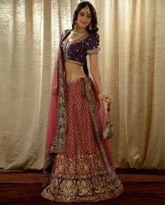 violet red Lengha by Ritu Kumar Indian fashion Indian Wedding Gowns, Indian Bridal Fashion, Indian Bridal Wear, Indian Wear, Desi Wedding, Indian Style, Indian Ethnic, Wedding Dresses, Pakistani Dresses