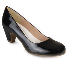 Women's Journee Collection Round Toe Comfort Fit Patent Classic Kitten Heel Pumps - Black 8.5