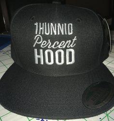 Look what we have in stock !!! White on Black 1H... visit http://100percenthood.biz/products/copy-of-1hunnid-percent-hood-snapback-baseball-cap?utm_campaign=social_autopilot&utm_source=pin&utm_medium=pin