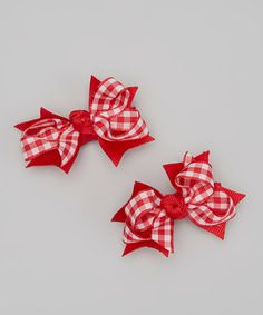 Another great find on #zulily! Red Plaid Mini Bow Clip Set by Bubbly Bows #zulilyfinds