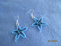 Tatted Earrings - 1 pair - Blue  with Black  beads - NEW