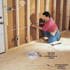 to Rough-In Electrical Wiring. Do-it-yourself guide with professional techni. - home remodel -How to Rough-In Electrical Wiring. Do-it-yourself guide with professional techni. - home remodel - Garage Atelier, Home Electrical Wiring, Electrical Outlets, Residential Electrical, Electrical Safety, Electrical Projects, Do It Yourself Furniture, Diy Home Repair, Home Repairs