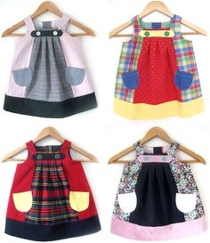 upcycling ~inspiration~  Handmade Recycled Fabric Children's Dresses by Reborn