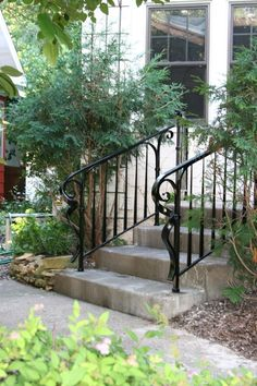Handrail by Michael Route Porch Step Railing, Wrought Iron Porch Railings, Porch Handrails, Exterior Stair Railing, Outdoor Stair Railing, Iron Handrails, Stair Handrail, Porch Steps, Front Steps