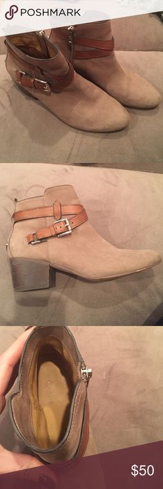 Coach Booties grey with cognac straps Gently worn, low heeled grey booties Coach Shoes Ankle Boots & Booties