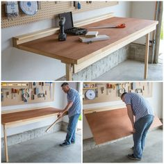 No shop is complete without a workbench, but not everyone's shop space allows room for a big, freestanding bench. This bench offers a sturdy place for all your shop chores, and folds down flat against the wall when not in use to save space. Workbench Plans Diy, Workbench Organization, Garage Organisation, Folding Workbench, Diy Garage Storage, Shed Storage, Diy Organization, Garage Workbench, Workbench Stool
