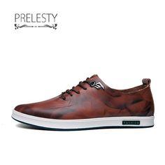 Prelesty Leather Men Casual Shoes Lace Up Men Dress Loafers Cap Toe Cool Moccasins Men's Shoes, Nike Shoes, Shoes Sneakers, Dress Shoes, Shoes Men, Casual Shoes, Men Casual, Dress Loafers, Best Sneakers