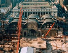 The demolition of Penn Station in the early 1960s. In the background, the James A. Farley Post Office, also designed by McKim, Mead & White, is viewed as a successor, though plans have moved slowly. Photography © Norman McGrath.