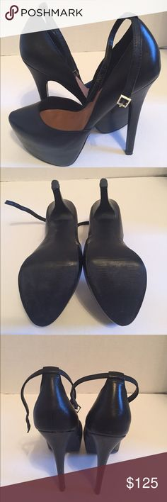 """Steve Madden Black Heels Real black leather 6"""" heels.  Only worn twice, in perfect condition. Steve Madden Shoes Heels"""