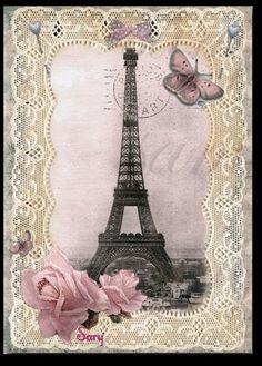 Eiffel Tower with pink roses Parchment Lace Frame Vintage Diy, Decoupage Vintage, Vintage Paris, Tour Eiffel, Paris Eiffel Tower, Eiffel Towers, Vintage Pictures, Vintage Images, Paris Cards