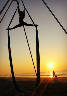 Aerial silks on the beach Aerialist: Aubry McMahon