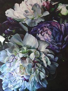 Marcella Kaspar_velvet_oil on Deco Floral, Arte Floral, Art Aquarelle, Watercolor Paintings, Big Flowers, Beautiful Flowers, Purple Flowers, Exotic Flowers, Flowers Garden