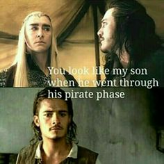"Lord of the RingsPirates of the Caribbean mashup. Thranduil on Orlando Blooms ""pirate phase"" Hahahaha!!"