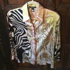 Roberto Cavalli Silk Blouse Colorful and cool silk button down blouse, with dangling leather ties on sleeves.  Great for summer!  Size XL Roberto Cavalli Tops Blouses