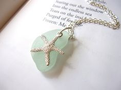 Seafoam Blue Sea Glass Bridesmaid Starfish Necklace by SeaglassGallery