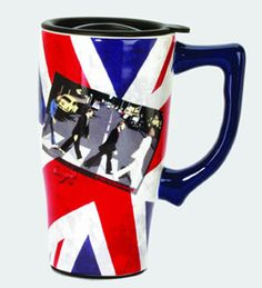 The Beatles Abbey Road Union Jack Travel Mug with Handle Spoontiques Beatles Travel Mugs Cool Travel Mugs, Coffee Travel, Beatles Albums, The Beatles, Modern Mugs, Gift For Music Lover, Music Lovers, Abbey Road, Candle Lanterns