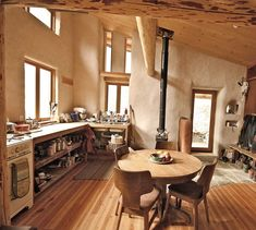 Straw bale, cob, adobe home with great light and open floor plan