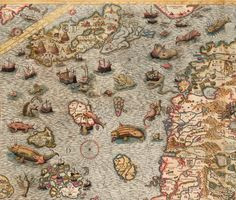 Sea Monsters on Medieval and Renaissance Maps Old Maps, Antique Maps, Vintage Prints, Vintage World Maps, Medieval World, Medieval Art, Map Maker, Pictorial Maps, World Map Art