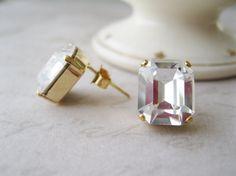 Art Deco Style Crystal Stud Earrings XL Bridesmaid Earrings Vintage Wedding 1920s Style Jewelry Vintage Swarovski Elements Gold plated