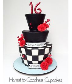 Queen of Hearts inspired cake, checkered cake.