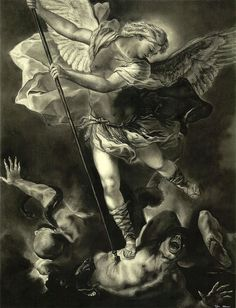 Michael Art Print featuring the drawing St. Michael Vanquishing The Devil by Tyler Anderson Archangel Michael Tattoo, St Michael Tattoo, Vs Angels, Angels And Demons, Catholic Art, Religious Art, St Micheal, Saint Michael, Michael Art
