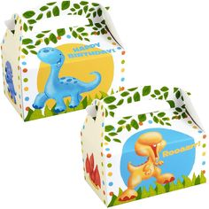 Little Dino Empty Favor Boxes from BirthdayExpress.com