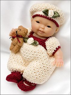 Ravelry: Wine and Roses Romper for 5 inch Berenguer pattern by Amy Carrico