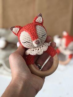Crochet Baby Toys, Crochet Fox, Crochet Toys Patterns, Amigurumi Patterns, Stuffed Toys Patterns, Crochet Animals, Fox Pattern, Baby Rattle, Crochet Basics