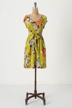 anthropologie chartreuse shoots dress