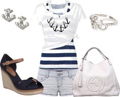 """""""Anchor Blue Jean Short Outfit"""" by alerogirl ❤ liked on Polyvore"""