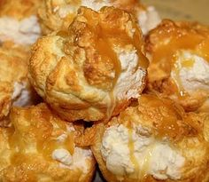 """low-carb caramel cream puffs; lots of good recipes here for low carbing, mostly make-overs; even 1 for coconut """"risotto"""" (cauliflower) mmmm"""