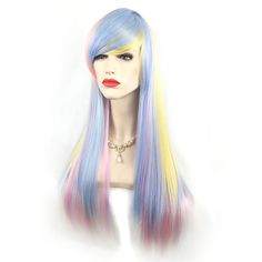 70cm Gradient Color Cosplay Wig Colorful Long Straight Hair... (170 DKK) ❤ liked on Polyvore featuring beauty products, haircare and hair styling tools
