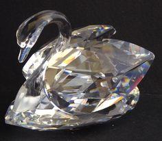 Vtg Swarovski Crystal Swan Figurine Large 2 7/8 Inches Block SC Logo 1976-1988 #Swarovski