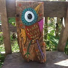 Mr Beek BirdFolk Art outsider Painting  On Repurposed Wood By Annette Gambrel