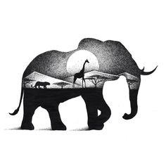 Elephant and Giraffe. Eclectic Collection of Drawings and Illustrations. To see more art and information about Thiago Bianchini click the image.