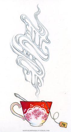 Journal, Art Journal: Hug in a Cup Tea Illustration, Illustrations, Tea Art, My Cup Of Tea, Art Journal Inspiration, Altered Books, Art Sketchbook, T 4, Drinking Tea