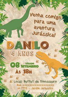 Arte Digital Convite Dinossauros no Elo7 | Jujuba's Art (CF9FEB) Die Dinos Baby, T Rex, Paw Patrol, Miraculous Ladybug, Party Time, Baby Shower, Halloween, Lucca, 1
