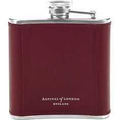 ASPINAL OF LONDON Classic leather-bound hip flask 5oz ($64) ❤ liked on Polyvore featuring home, kitchen & dining, fillers, fillers - red, other, red and aspinal of london