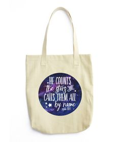 WEEKLY DEAL! He Counts The Stars and Calls Them All By Name Psalm 147:4 Tote Bag