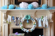 In neutral colors....diaper wreath @Courtney Cerrone ....I will supply the diaper cake and you can attach it to your clothesline