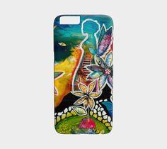 Étui I Pad mini, coque IPhone, étui Samsung fée et fleurs multicolores par Marika Lemay artiste pour protéger et embellir un téléphone de la boutique MarikaLemayArtiste sur Etsy