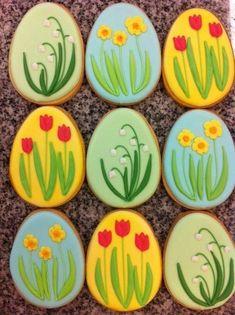 PP Spring Cookies Collection Summer Cookies, Fancy Cookies, Iced Cookies, Cute Cookies, Easter Cookies, Easter Treats, Holiday Cookies, Cookies Et Biscuits, Cupcake Cookies