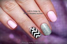 Gelish Pale Pink Zig Zag nails by FUNKY FINGERS FACTORY