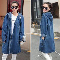 Vintage Long basic coats women Casual Loose jean jackets Girls streetwear Plus Size S-4XL Hooded denim jacket coat new Fashion