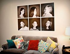 And they called themselves the brady bunch!  I think this is such a fun way to show images!  What a blast.  And the photos have similar style, lighting, and color range.  The set here of gallery wraps or photographs looks great!  Being frameless makes it even better!