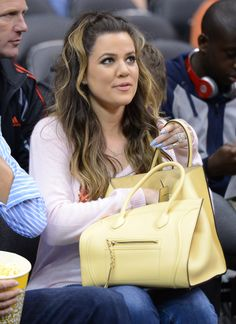 06bde45e0bb5 Khloe Kardashian Celine Phantom Bag khloe Kardashian with this Beautiful  Celine Phantom in Yellow Thi.